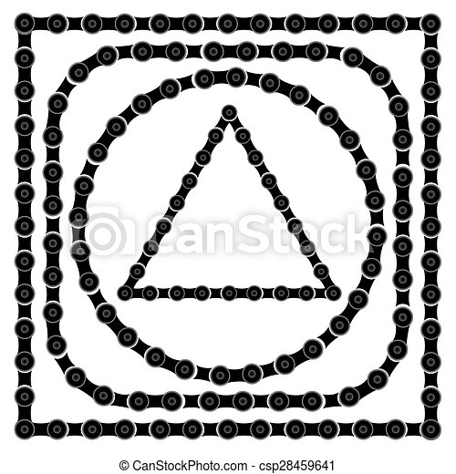 80500439711f Set of bike chain frames isolated on white background.