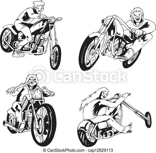 Set of bikers - csp12829113