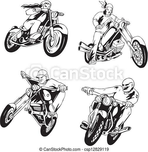 Set of bikers - csp12829119
