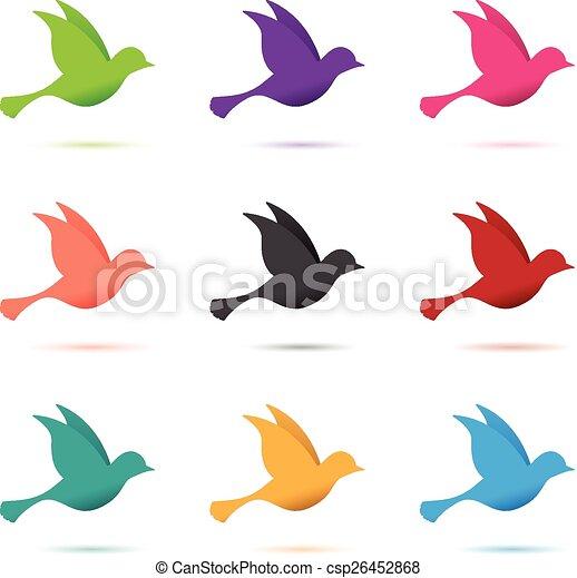 set of birds in flight - csp26452868