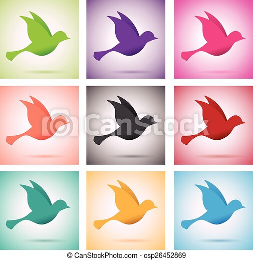 set of birds in flight - csp26452869