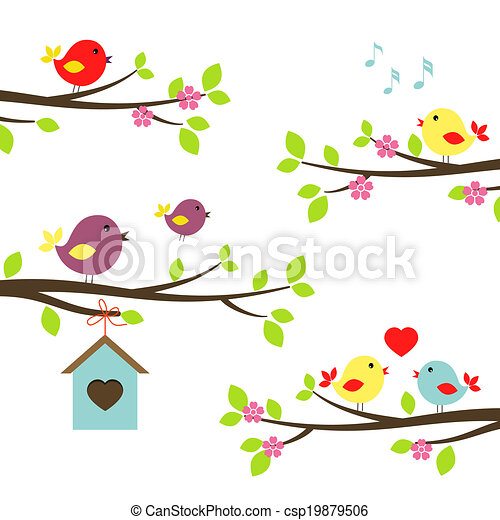 Set of birds on flowering branches - csp19879506