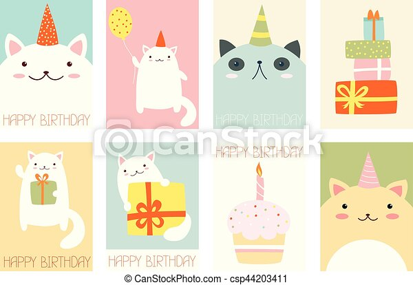 set of birthday banners with cute cats collection of birthday