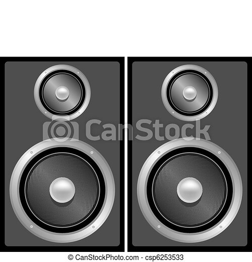 music speakers clipart. set of black and grey stereo speakers - csp6253533 music clipart o