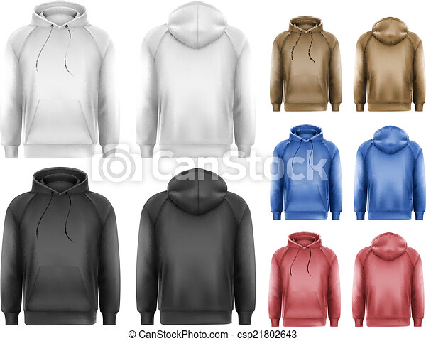 Set of black and white and colorful male hoodies with sample tex - csp21802643
