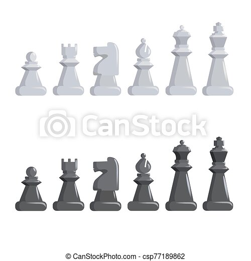 Set of black and white chess pieces. - csp77189862