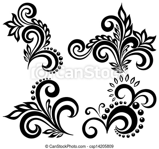 set of black and white floral elements many similarities in the rh canstockphoto com vector clipart cross vector clipart crown