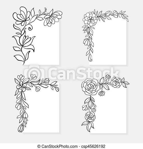 Set Of Black And White Hand Drawn Corner Floral Borders Design For
