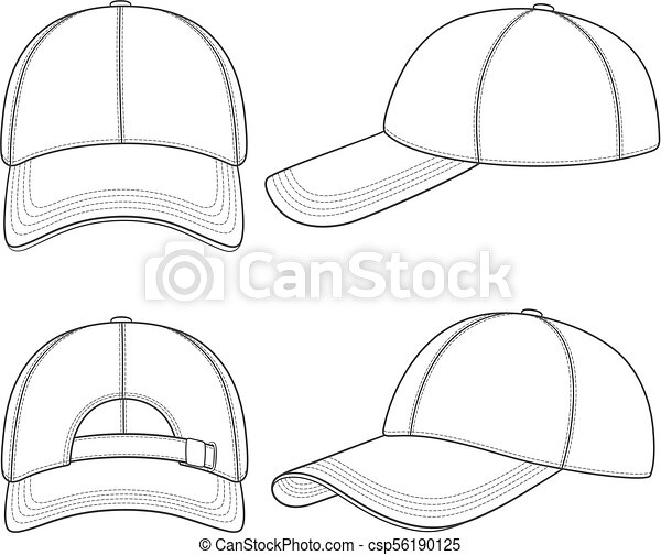 3d55bed8 Set of black and white illustrations with a baseball cap. Isolated vector  objects. -