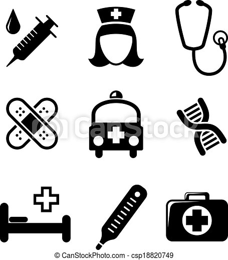 Set Of Black And White Medical Icons Including A Syringe Eps