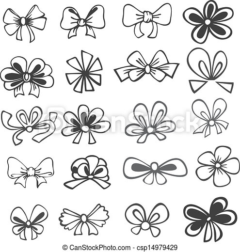 set of black and white ribbons - csp14979429