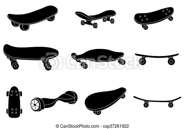 Set Of Black And White Skateboards For Labels Logos Icons