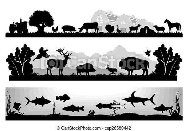 set of black and white vector lands - csp26580442