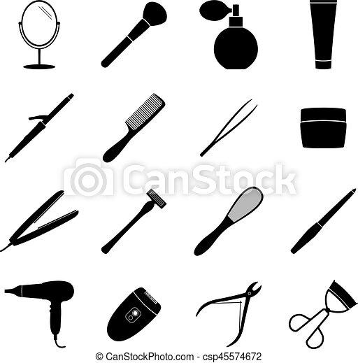 Set of black beauty icons, vector illustration - csp45574672