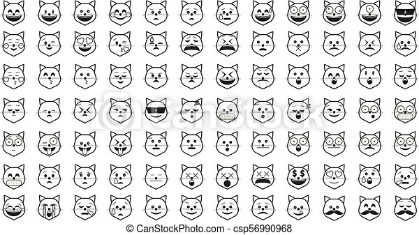 Set Of Black Cat Emoji Outline Emoticon Vector Isolated On White