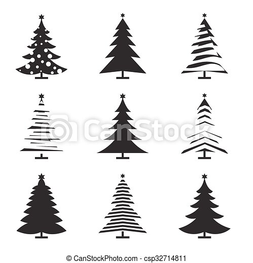 Set Of Black Christmas Tree Vector Illustration And Icons