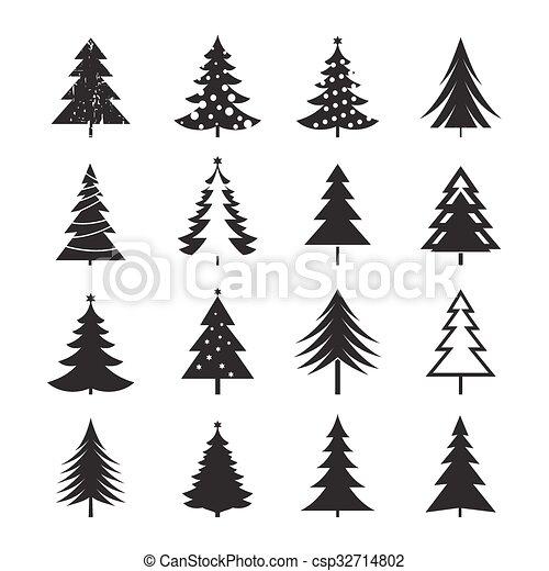 Set Of Black Christmas Tree Vector Illustrations