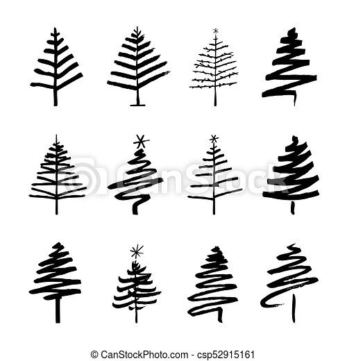 Christmas Trees Drawing.Set Of Black Christmas Trees Drawing Vector Illustration