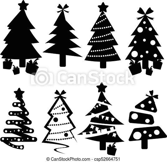 Set Of Black Christmas Trees Icons