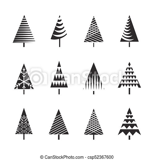 Set Of Black Christmas Trees Vector Illustration And Icons