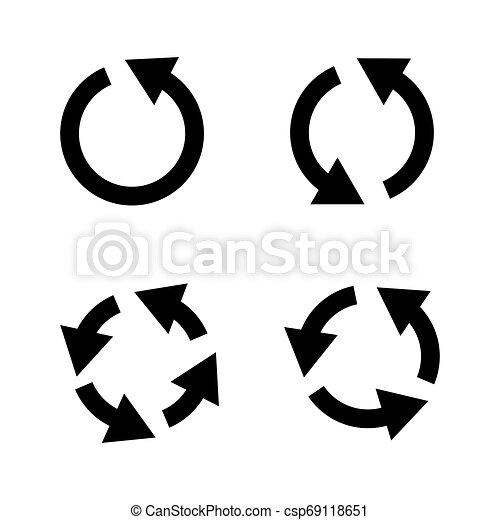 Set of black circle vector arrows. Vector Icons - csp69118651