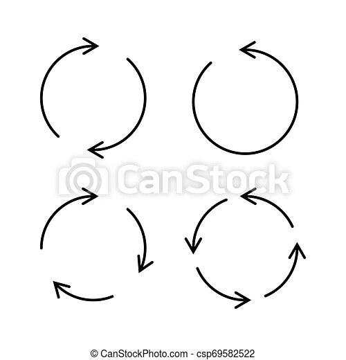 Set of black circle vector arrows. Vector Icons - csp69582522
