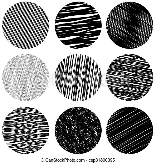 set of black diagonal strokes patterns sketch circles set of black