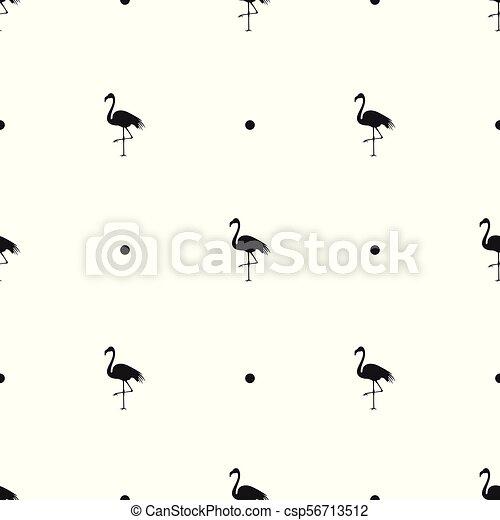 vector illustration of set of black flamingo icon template on white