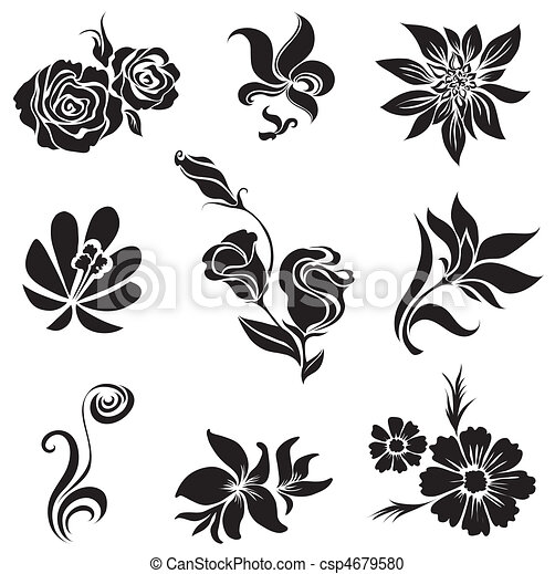 Set Of Black Flower And Leafs Design Elements From My Big Vector
