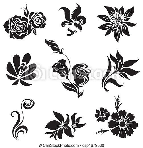 Set of black flower and leafs desig - csp4679580