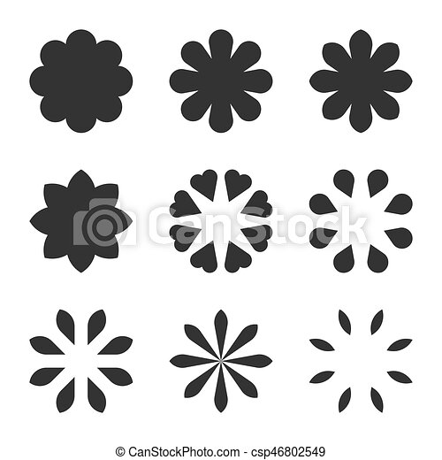 Set Of Black Flower Design Symbols Flowers Silhouette Set Of Black