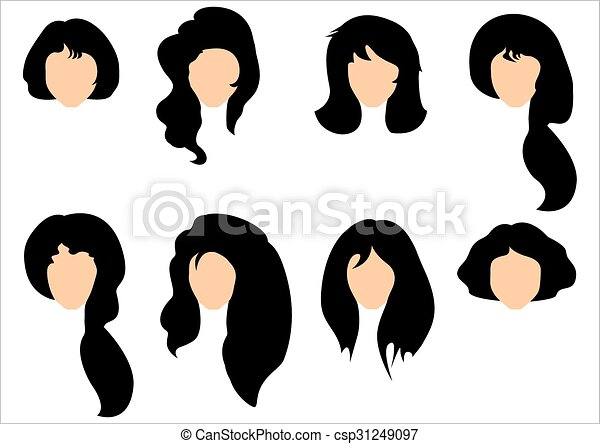 Set of black hair styling for woman - csp31249097