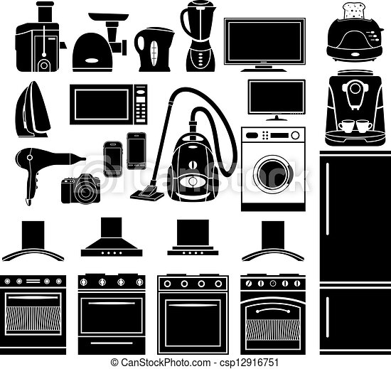 Set of black icons of household appliances - csp12916751