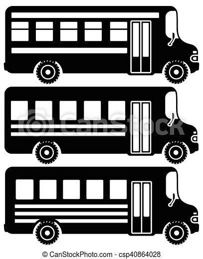 Set of black icons school buses. - csp40864028
