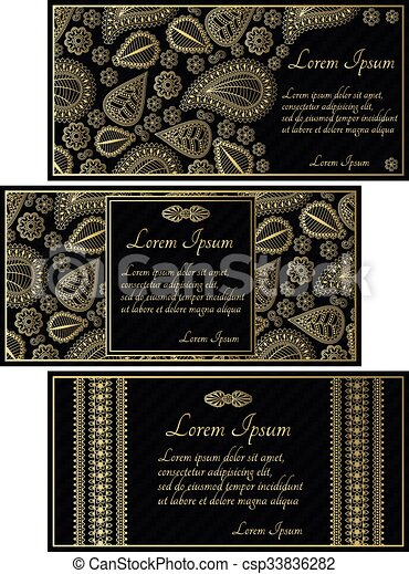 Set Of Black Invitation Cards Metal Gold Metallic Invitation Card Wedding Background Vector Vintage Design Pattern