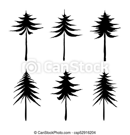 set of black pine and spruce trees drawing vector vector clipart rh canstockphoto com pine tree vector graphic pine tree graphic design