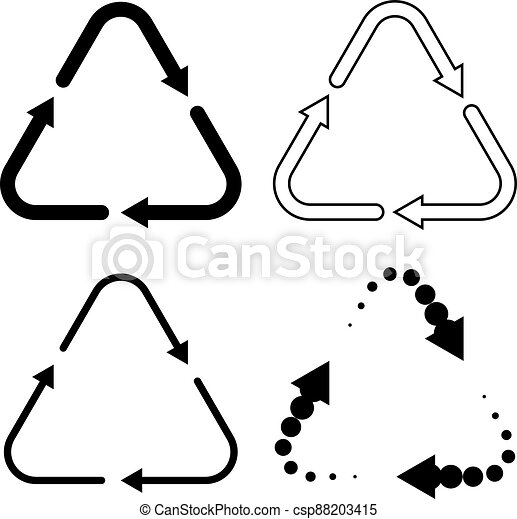 Set of black recycling icons - csp88203415