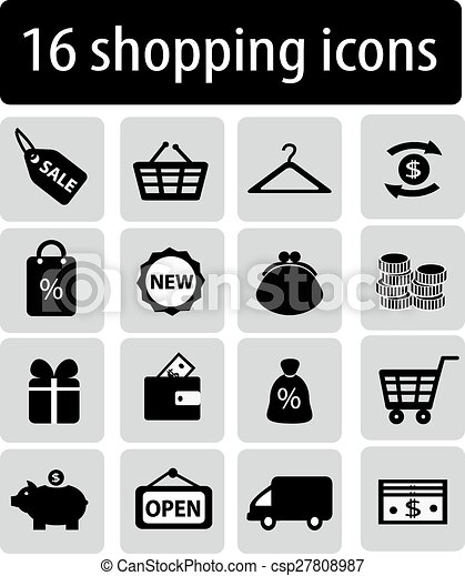 set of black shopping icons - csp27808987