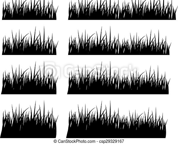 Set of black silhouette grass in different height - csp29329167