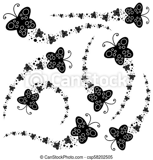 Set of black silhouettes  A flock of abstract cartoon butterflies flying  one after another