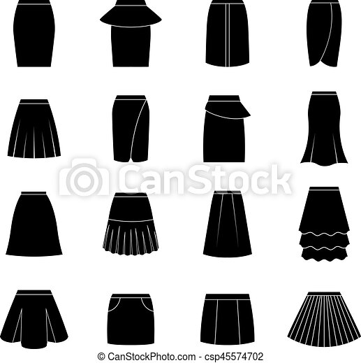 Set of black skirts, vector illustration - csp45574702