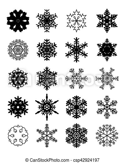 Set of black snowflakes - csp42924197