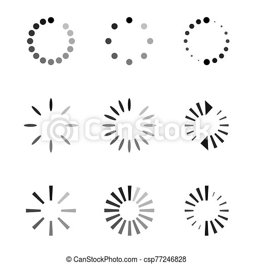 Set of black vector refresh and recycling arrows for web. COLLECTION OF ICONS. - csp77246828