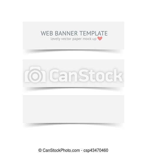 Set Of Blank Paper Banners With Shadows Isolated On White Background