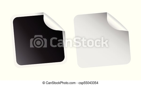 Set of blank stickers  Empty promotional labels  Vector illustration  Black  and white square tags