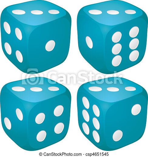 Set of blue casino craps, dices with three points, dots number on top, vector illustration - csp4651545