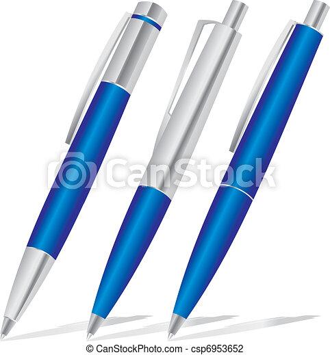 set of blue pens  - csp6953652