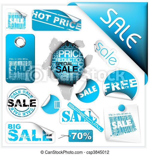 Set of blue sale tickets, labels and stickers - csp3845012
