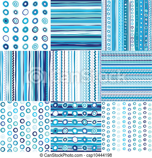 Set of blue seamless pattern for baby boys - csp10444198