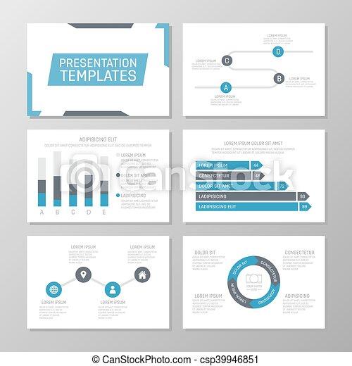 set of blue template for multipurpose presentation slides leaflet